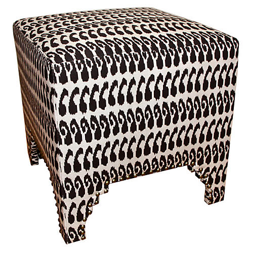 Farha Stool, Brown Ikat