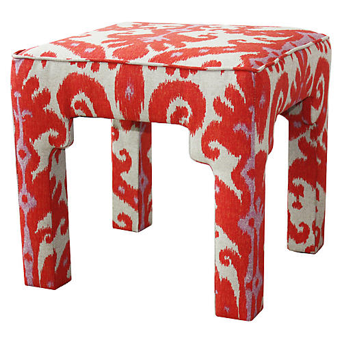 Hicks Stool, Coral Ikat