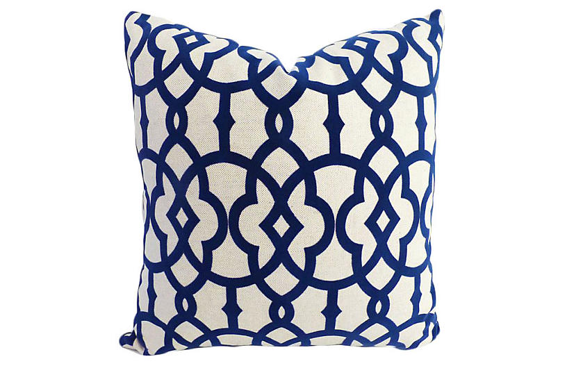 Faye 20x20 Cotton-Blend Pillow - Navy - Kim Salmela