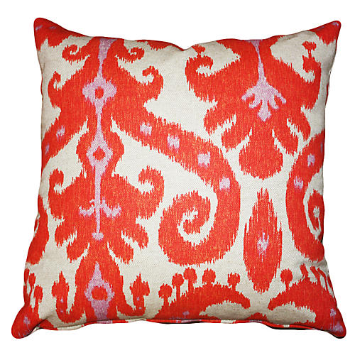 Ikat 20x20 Cotton-Blend Pillow, Coral