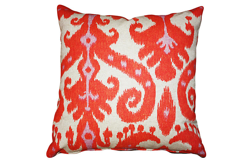 Ikat 20x20 Cotton-Blend Pillow - Coral - Kim Salmela