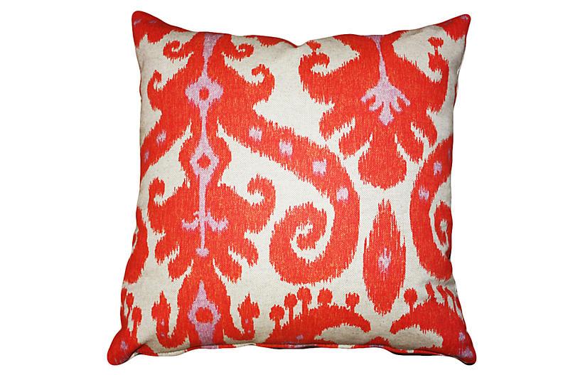 Ikat 20x20 Cotton-Blend Pillow - Coral - Kim Salmela