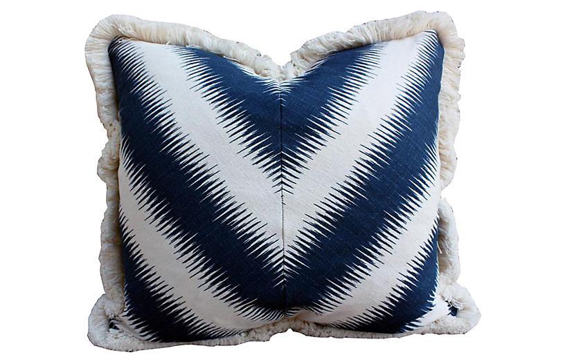 Cal Fringed Pillow, Navy/Cream