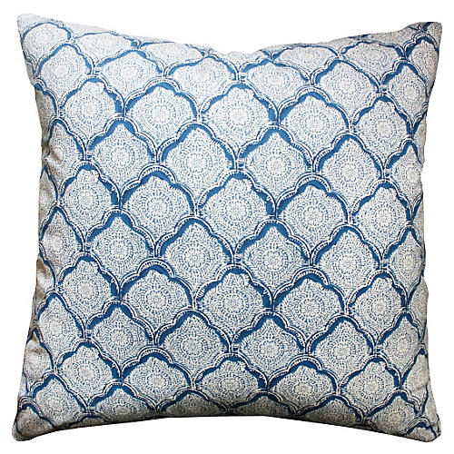Mina 20x20 Cotton Pillow, Blue