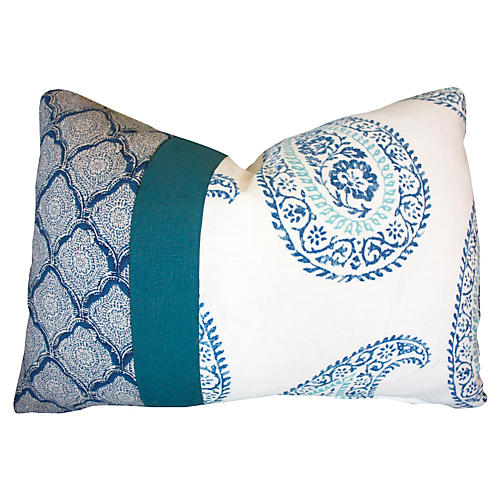 Paisley 14x20 Cotton Pillow, Blue