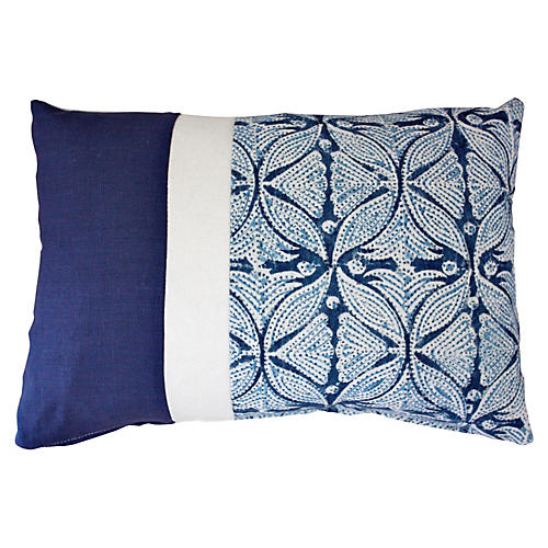 Jair 14x20 Cotton-Blend Pillow, Navy