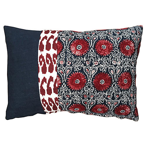 Riya 14x20 Pillow, Navy/Red