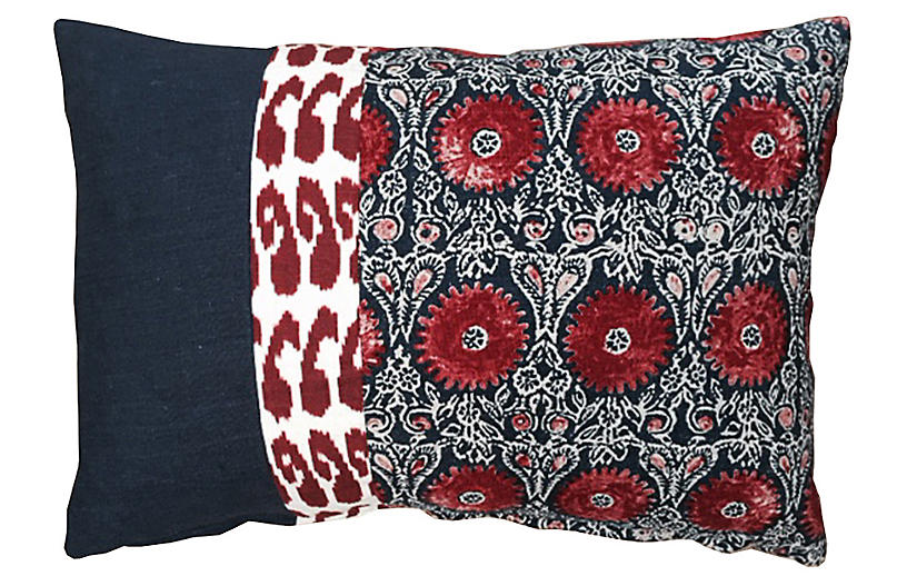 Riya 14x20 Pillow - Navy/Red - Kim Salmela