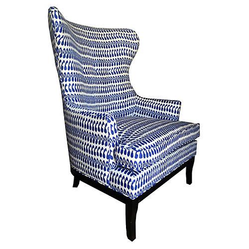 Calhoun Wingback Chair, Indigo Ikat