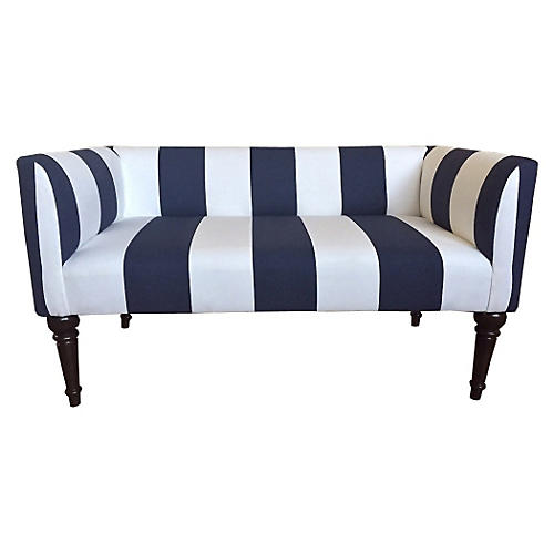 "Catherine 48"" Bench, Navy Stripe"