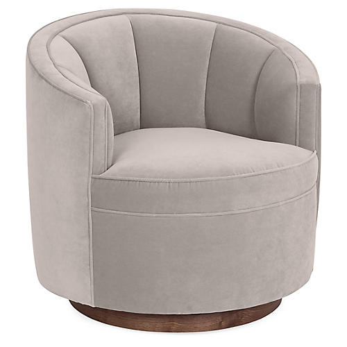 Jackie Swivel Club Chair, Light Gray Velvet