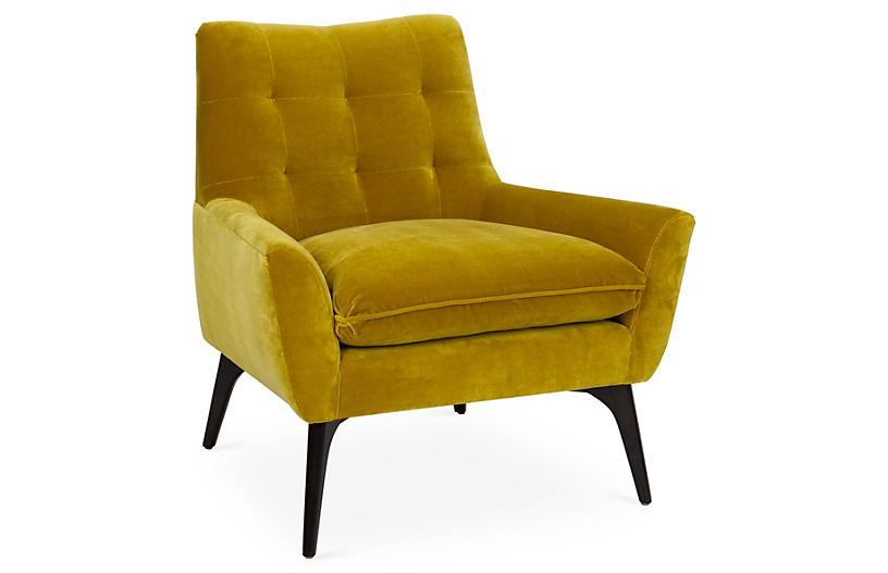 Lawrence Accent Chair, Citrine Velvet