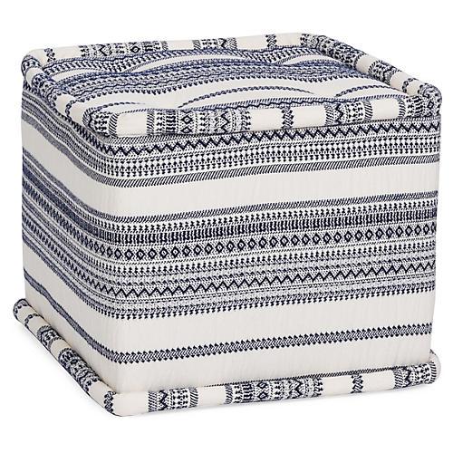 Fes Cube Ottoman, Indigo Stripe