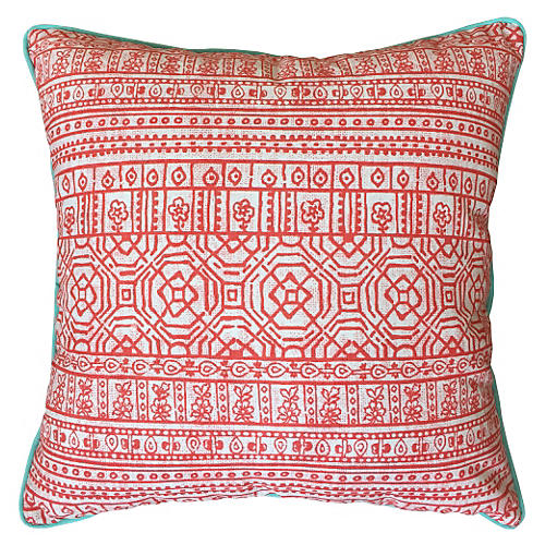 Sabrina Outdoor Pillow, Coral Sunbrella