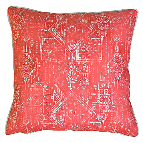 Akumal Outdoor Pillow, Coral