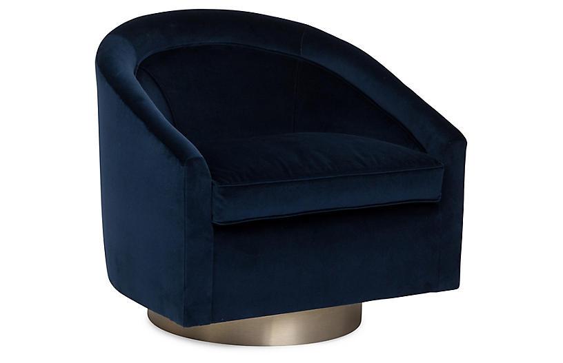 Benson Swivel Club Chair, Indigo Velvet