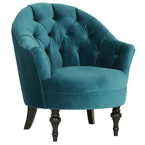 Elizabeth Accent Chair, Cyan Velvet