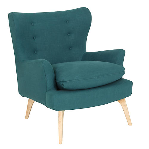 Sonja Accent Chair, Teal Linen