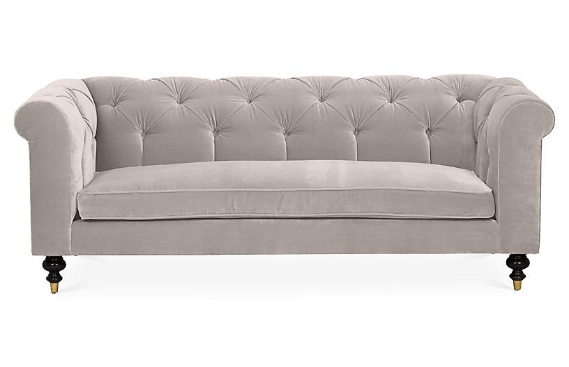 Dexter Tufted Sofa, Light Gray Velvet