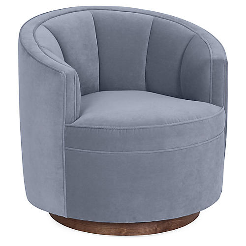 Jackie Swivel Club Chair, Delft Blue Velvet