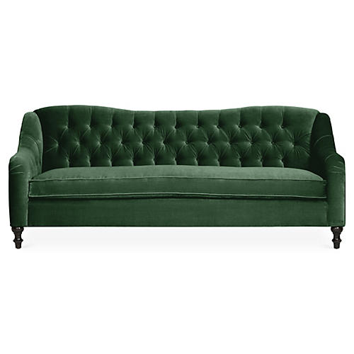 Waverly Tufted Sofa, Emerald Velvet