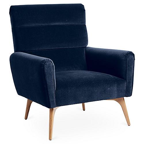 Devon Accent Chair, Indigo Velvet