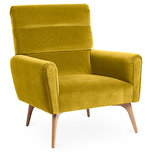 Devon Accent Chair, Citrine Velvet