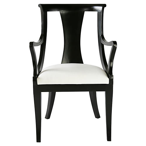 Carlyle Armchair, Ebony/Ivory Velvet