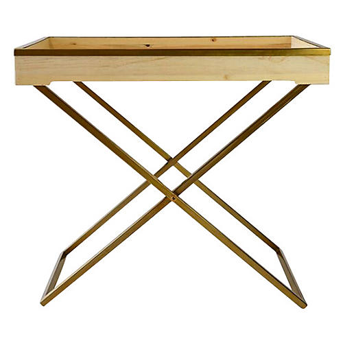 Audrey Butler Tray Table, Natural/Gold