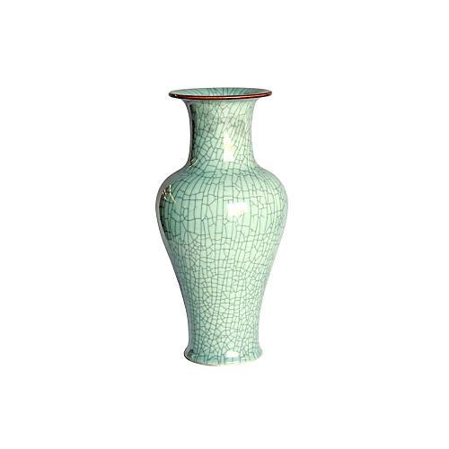 "19"" Crackle Celadon Fish Tail Vase"