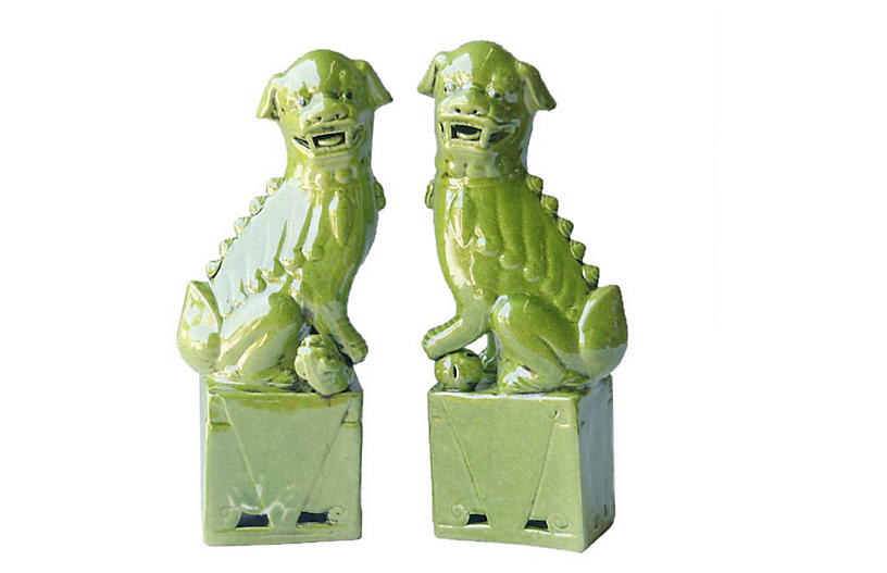 Lime Green Sitting Foo Dogs, Pair