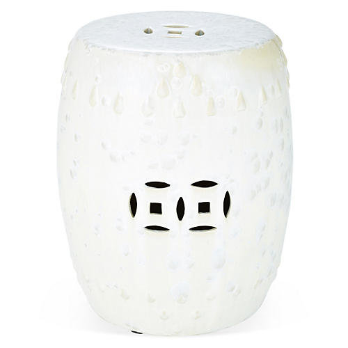 Kelly Garden Stool, Eggshell