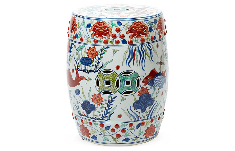 Fish-Motif Garden Stool, Orange/Multi