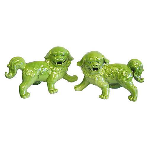 "7"" Green Walking Foo Dogs, Pair"