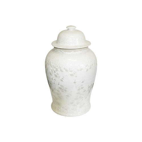 "19"" Crystal Shell Temple Jar, White"