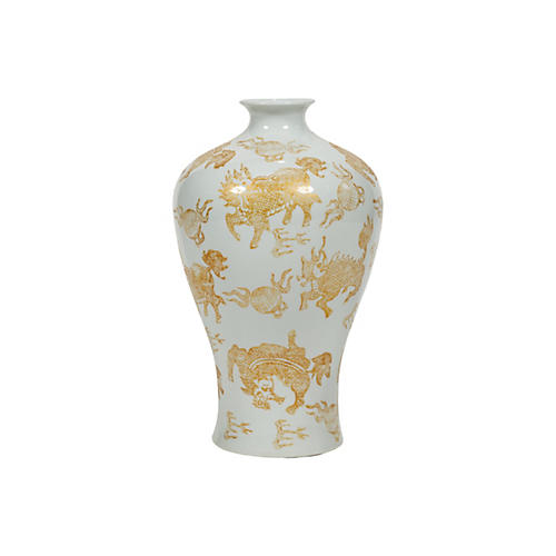 "17"" Kylin Plum Vase, Gold/White"