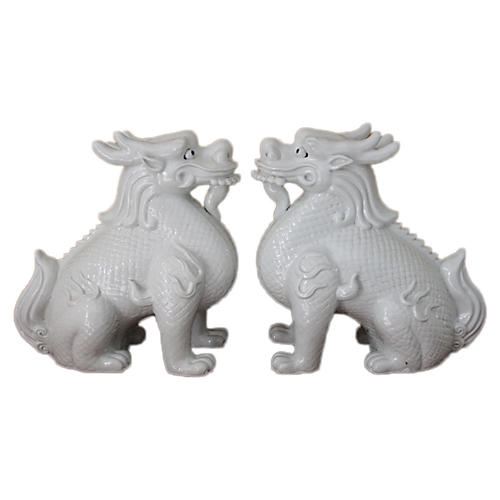 "10"" White Kylin Foo Dogs, Pair"