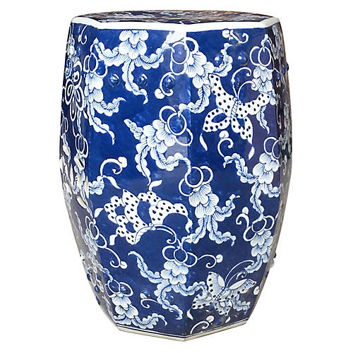 Hexagonal Butterfly Garden Stool, Blue