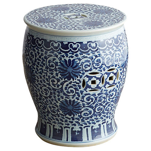 Twisted-Lotus Drum Stool, Blue