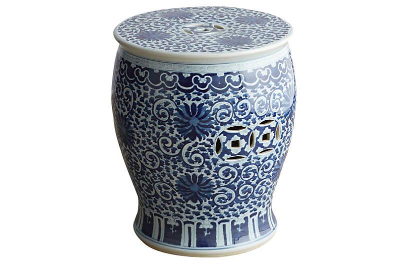 Twisted-Lotus Drum Stool, Blue