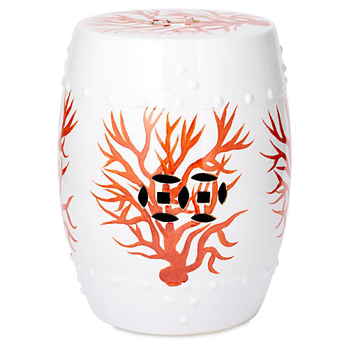 Coral Garden Stool, Red/White