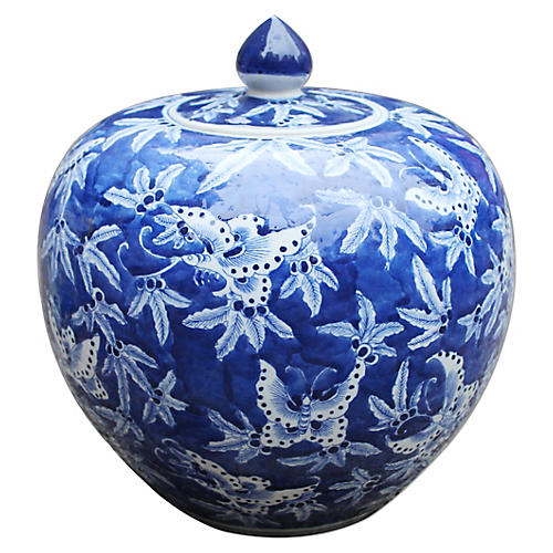 "12"" Butterfly Melon Jar, Blue/White"