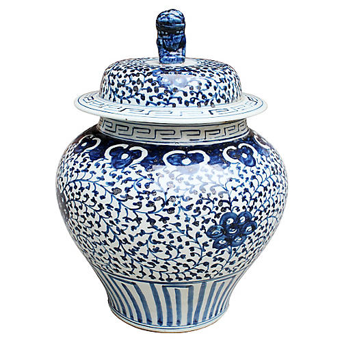 "17"" Curly Vine Jar, Blue/White"