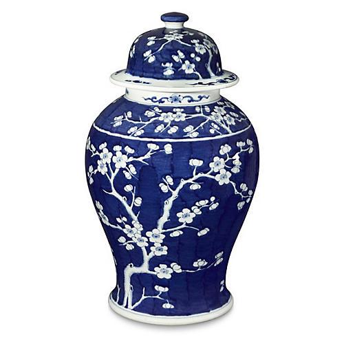 "21"" Plum Tree Temple Jar, Blue/White"