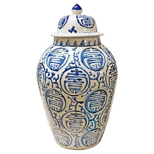 "20"" Longevity Heaven Jar, Blue/White"