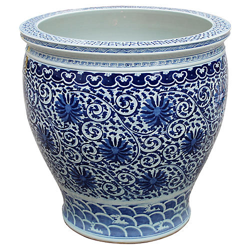 Twisted Lotus Planter, Blue/White