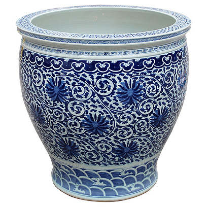 Twisted Lotus Planter, Blue/White