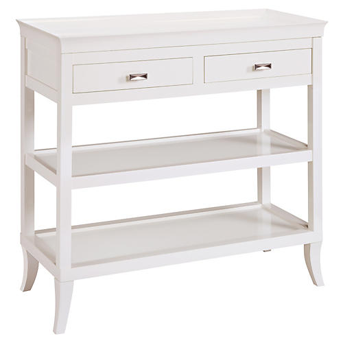 Claudia 2-Shelf Console, White