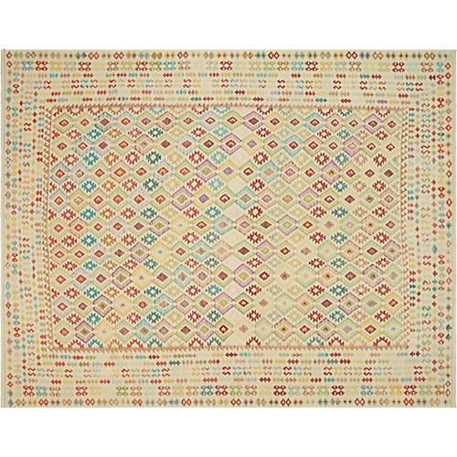 "13'x15'10"" Tribal Maimana Kilim, Ivory/Multi"