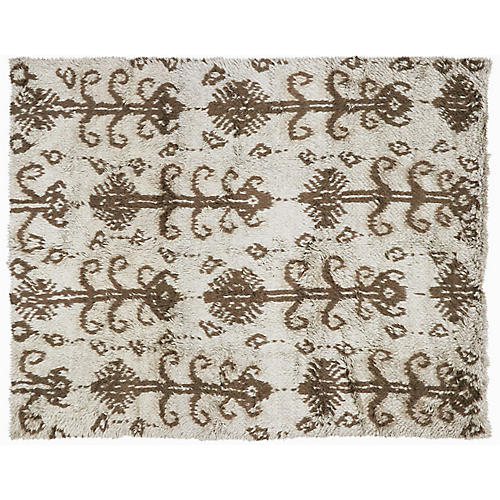 "8'8""x10'1"" Ikat Rug, Cream/Brown"